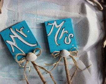 Nautical Cake Topper  Mr & Mrs Turquoise and Gold , Hand Painted One of a Kind Beach Wedding Decoration