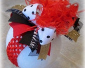 Red Over the Top Hairbow, Black Dot Bow, Large Headband, Gold Zebra OTT Bows, Ostrich Feather Hair Bow, Party Hairbow, Glitter Bows, Big Bow