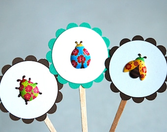 Puffy Lil' Ladybugs - Cupcake Toppers