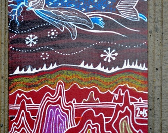 Art cards - ACEO - ACO - 'Angel flying over large rocks'