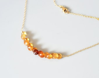 Hessonite Garnet Bar Necklace - 14k Gold Filled - Gemstone Micro Faceted - Onion Briolette - Wire Wrapped, Gradient Color, Earthy, Everyday