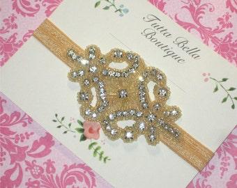 Vintage Jeweled Headband, Gold Bridal Headband, Flower Girl Headband, Gold Wedding Fascinator, Adult Headband, Bridesmaid Headband