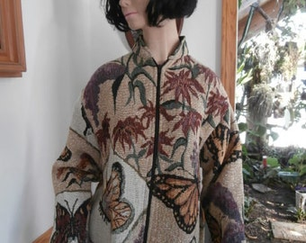Tapestry Butterfly  Floral Trumpet Vine Woven Tapestry Jacket Womens Zip up Coat