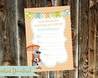 Instant Download Orange and Blue Olaf from Frozen {You Fill In} Birthday Invitation -Print Your Own