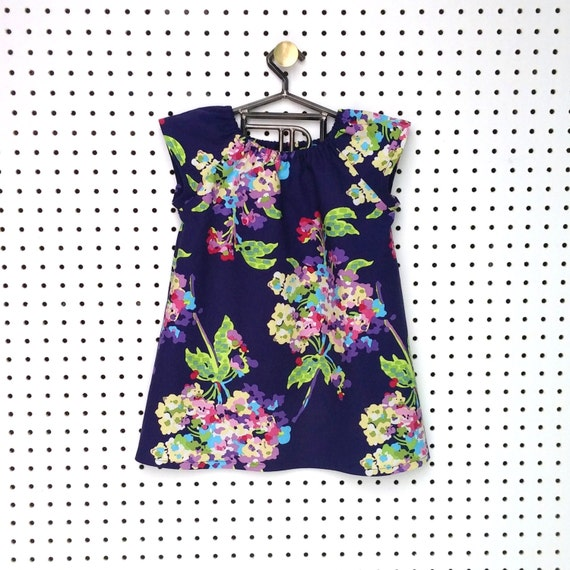 6 mo // Childrens Shift Tunic / Navy Flower Bouquet / Baby Shift Dress / 6 months by PerryFinalia