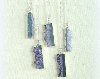 Amethyst necklace amethyst geode slice silver necklace sterling silver electroplated amethyst cluster february birthstone