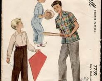 McCall 7739   Size 4    Boys Slacks and Shirt    Vintage 1940 Sewing Pattern