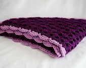 SALE Groovy Crochet Shawl - Poncho for Women - Womens Wrap - Triangle Shawl Purple Wrap Comfy Shawl