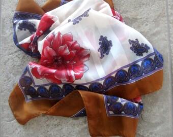 Vintage Flower Scarf Red Poppies Designer Jim Renoir Purple Paisley Solid Sheer