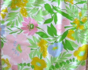 Vintage Cloth Napkins Impressionist Spring Floral Flowered Yellow Blue Green Pink Set of Two