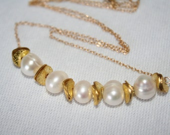 White Freshwater Pearl and Gold Disc Delicate Necklace. White. Layer. Short. Gift. Bridesmaid. Summer. Classic. Minimalist. Gift for her