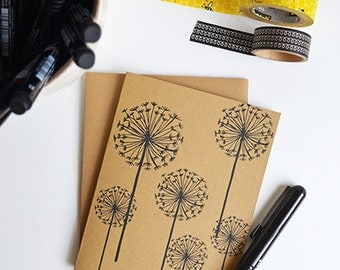 Set of FOUR Dandelion Folded Note Cards, Dandelions, wishes, Stationery, Hand Drawn, Illustration, Flowers, Floral, Note cards,