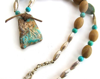 Southwestern Tribal Necklace with Genuine Carved Turquoise Pendant