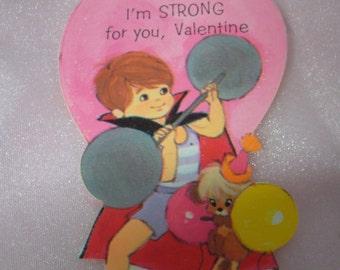 Vintage 1970's Novelty Strong Man Valentine's Day Card