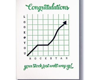 Funny Letterpress Congratulations New Job Promotion Graduation Stock Rising Card | kiss and punch