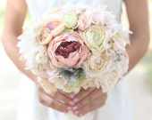 Silk Bride Bouquet White Cream Pale Pink Roses and Peonies Dusty Miller Shabby Chic Vintage Inspired Rustic Wedding Keepsake Bouquet