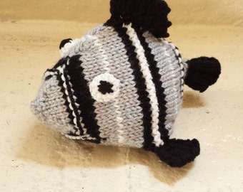 Fish Stuffed Animal Knitted Toy/ Gray And Black/ Shimmery Amigurumi Doll/ Handmade Toys/ Gift For Kids