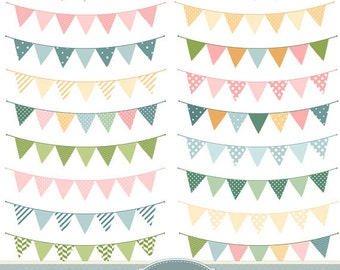 Bunting Flags Clipart Bunting Clip Art Garland Clipart Polka Dot Chevron Stripes Rustic Wedding Invitations Scrapbooking Digital Banner Flag