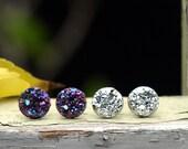 2 Pair Set of Glitter Stud Earrings, Faux Druzy Posts in Black Rainbow Purple - Metallic Silver