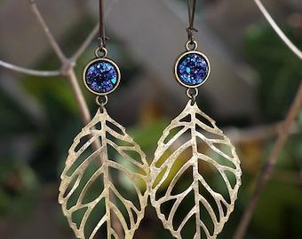 Faux Druzy Leaf Dangle Earrings - Blue Purple and Black - Resin Glitter Drusy Dangles