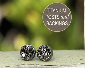 Dark Gray Glitter Studs, Faux Druzy Titanium Post Earrings, 8mm Faux Durzy, Gunmetal Grey Metallic