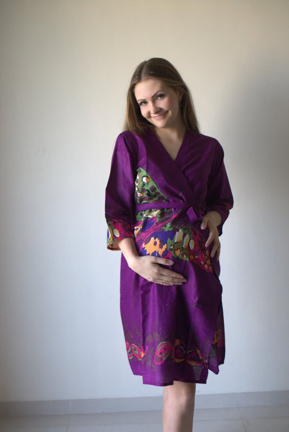 Purple Butterfly Maternity Robe Hospital Gown Delivery Robe