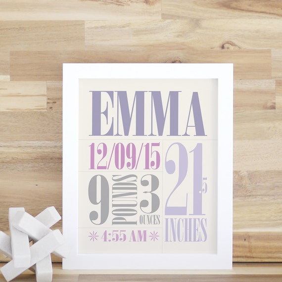 Art and Decor for Baby Nursery Kids Personalized Nursery Wall Art Custom Wall Decor Violet Baby Room Gift 8x10 16x20. Custom Birth Print