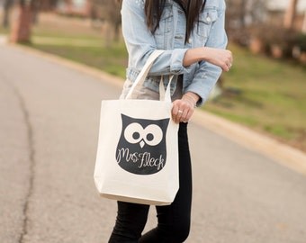 Teacher Gift, Tote Bag, Owl Silhouette, Canvas, Personalized, Name