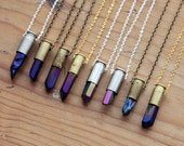 Polished Quartz Crystal Bullet Necklace - .40 Caliber Shell Aura Titanium Purple Gold Blue Natural Clear Raw Point Pendant Silver Plated