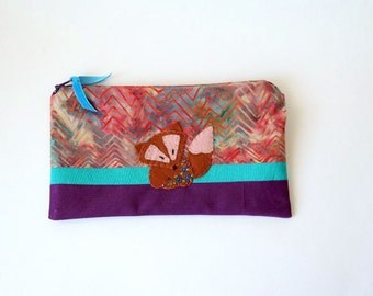 "Zipper Pouch, 5.5x9"" in Purple, Aqua, Brown, Red and Cream Batik chevrons with Handmade Felt Fox Embellishment, Fox Pencil Case"