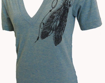 Two Feathers Tri-Blend  V-neck American Apparel T-shirt Lime M