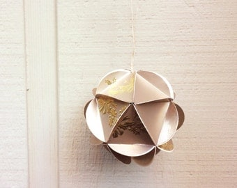 READY TO SHIP Large Geometric Holiday Ornament, Gold Metallic