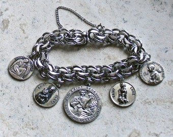 Saints of the Arts ~ Vintage RHYTHM Sterling Silver Catholic Medals Bracelet ~ 62G