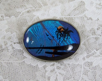 Antique Sterling Silver Butterfly Wing Tropical Brooch Pin, Palm Tree Island Scene, Vintage Oval Sterling Silver Retro Jewelry