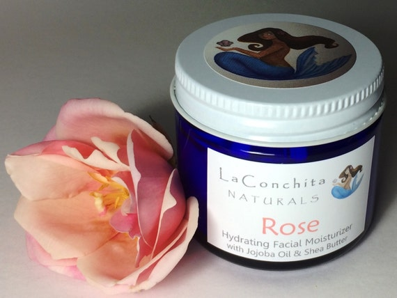 Natural Rose Face Cream with Hyaluronic - All Skin Types, No Parabens - Mineral Makeup Base - 1 oz Glass Jar