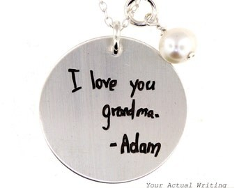 Actual Handwriting - Sterling Silver Round Disc Necklace