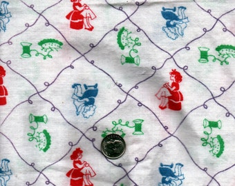Vintage  Feedsack Flour Sack Cotton Quilting Fabric   //  Little Girls Sewing in Red, Blue and Green * STILLaSACK