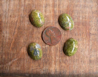 4 Unakite Cabochons Lapidary Cabs 18 mm x 13 mm Oval Jewelry Making Wire Wrapping Cabs