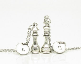 Chess Necklaces, King and Queen Chess Pieces, His and Hers Couple or Best Friends Necklaces, Personalized Initials, Monogram Necklaces Y128