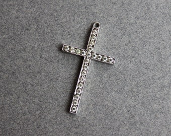 Antique Sterling Paste Cross / Religious Rhinestone Cross Pendant