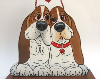 """Made to Order Hand Painted Basset Hound Table Top Art - """"BFF (Best Friends Forever)"""""""