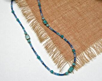 Beaded Necklace, Boho Wrap Bracelet, Cobalt Teal Glass