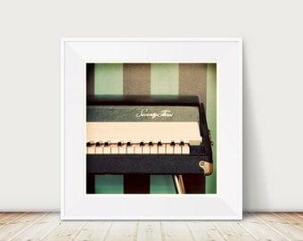 Seventy-Three Square Fine Art Print--Vintage Keyboard Piano Fender Music Musician Black Blue Retro Apartment Home Decor Wholesale