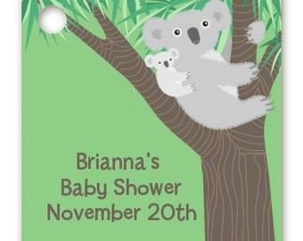 Koala Bear - Baby Shower Custom Favor Tags – Set of 20 - - Personalized Printed Party Favor Gift Tags
