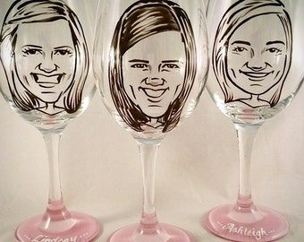 Bridesmaid Gift - Vintage Style Original Caricature Wine Glasses or Stemless Wine Glass- Hand Painted Wine Glass