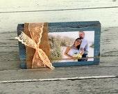 Burlap Decor - Photo on Wood Block Sign - Burlap and Lace Decor - Wedding Table Centerpiece - Wood Block Sign with Burlap - Custom Color
