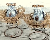 Cherubs with Crowns  Angel Christmas Decoration, Shabby Cottage chic Set of 2 Table Centerpiece, rusty Spring Nest Rustic Figurines