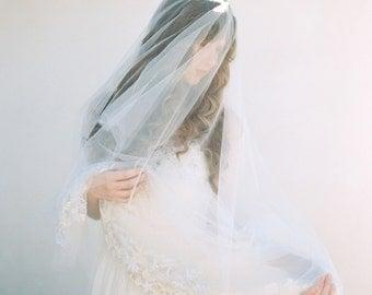 Bridal Veil, Chapel Lenght Veil, Blusher Veil, Wedding Veil, Beaded Veil - Style 401