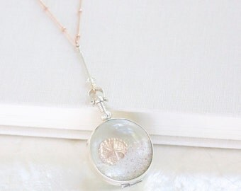 14kt Rose Gold Filled & Sterling Silver Sands of Time - Shake Necklace - Beach Sand - Beach Wedding/Vacation Keepsake - THE ORIGINAL