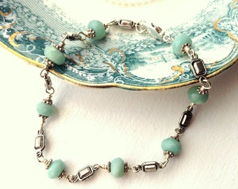 Boho chic Amazonite and silver link bracelet delicate Bohemian style